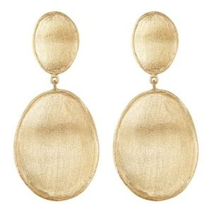 RIVKA FRIEDMAN Satin Wavy Oval Drop Earrings Gold